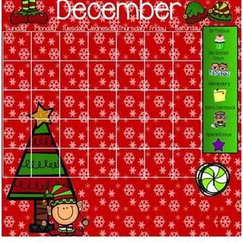 December Morning Work Smarboard Calendar