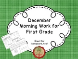 December Morning Work for First Grade