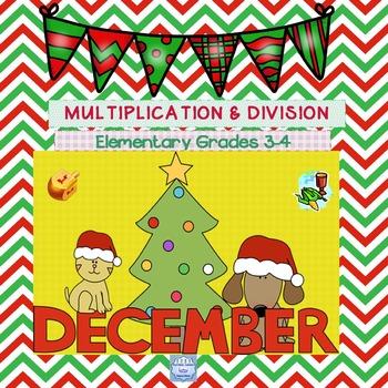 December Multiplication & Division Practice for Grades 3,4, & Sp. Ed. (No Prep)