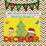 December Multiplication & Division Practice for Grades 3,4