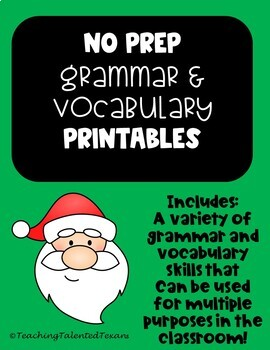 2nd Grade December NO PREP Grammar and Vocabulary Printables