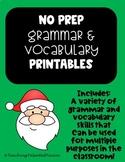 2nd Grade December NO PREP Grammar and Vocabulary Printables