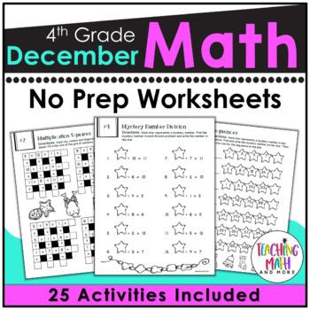 December NO PREP Math Packet - 4th Grade
