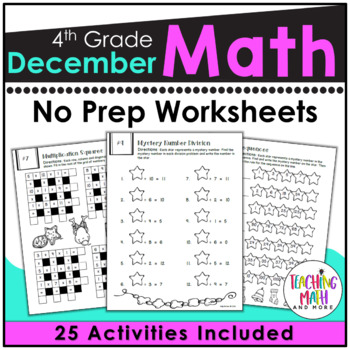 December NO PREP Math Packet - 4th Grade