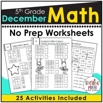 December NO PREP Math Packet - 5th Grade