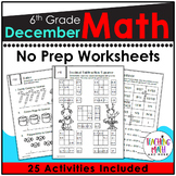 December NO PREP Math Packet - 6th Grade