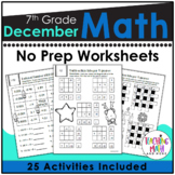 December Math Activities 7th Grade | Christmas Math Worksh