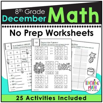 December NO PREP Math Packet - 8th Grade