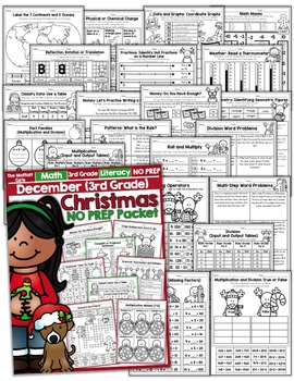 December NO PREP Math and Literacy (3rd Grade)