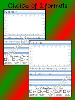 FREEBIE - December NO PREP Monthly Journal Prompt Kindergarten 1st