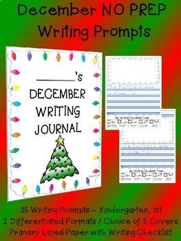 Monthly NO PREP December Christmas Hanukkah Journal Writing Prompts Centers K 1