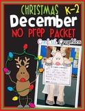 December NO PREP PACKET Christmas Reindeer K 1 2 Kindergar