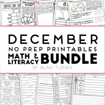 December NO PREP Printables: Math and Literacy BUNDLE