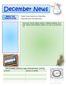 December Newsletter Editable Template