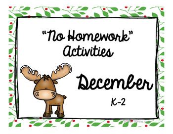 """December """"No Homework"""" Menu"""
