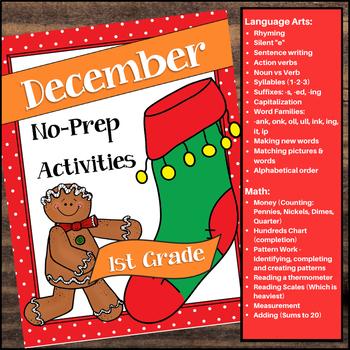 December No-Prep Activities for 1st Grade
