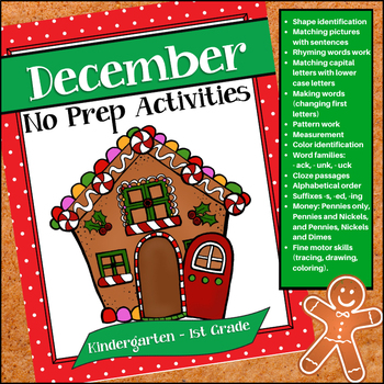 December No-Prep Activities for Kindergarten - 1st Grade