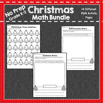December No Prep Holiday Math Packet K-2: Christmas