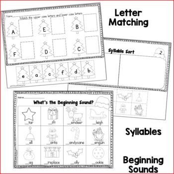December No Prep Just Print Math and Literacy for Kindergarten