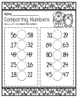 December No Prep Math Printables