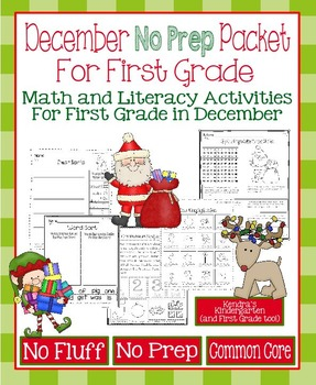December No Prep Math and Literacy Packet for First Grade