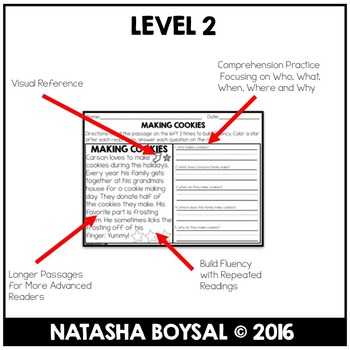 """December Reading Comprehension Passages with """"WH"""" Questions (Leveled)"""
