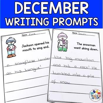 December No Prep Writing Prompt Worksheets