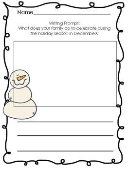 December No-Prep Printable Writing Prompts (Kindergarten!)