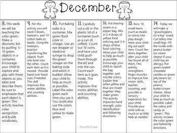 December Non-Verbal Homework Calendar