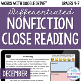 December ONLINE Differentiated Nonfiction Close Reading Texts and Questions