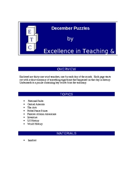 December One-A-Day History Puzzles