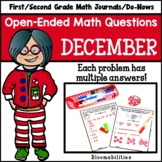 December Open-Ended Math Questions for Journals/Do-Nows (First / Second Grade)