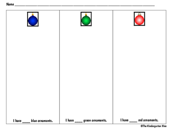December Christmas Ornaments Count & Classify Worksheet (blue, green and red)