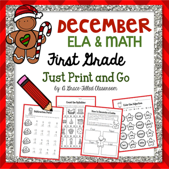 December PRINT AND GO: ELA & Math {First Grade}