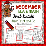 December PRINT AND GO: ELA & Math {First Grade}