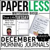 December Paperless 1st & 2nd Grade Morning Work {Whiteboard-based & EDITABLE}