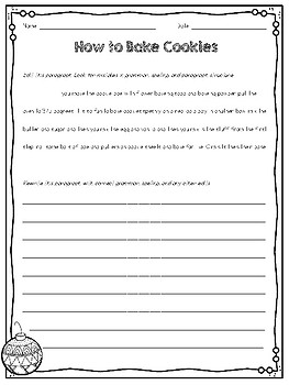December Paragraph Editing Freebie for Grades 3-5