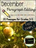 December Paragraph Editing Freebie for Grades 3-5