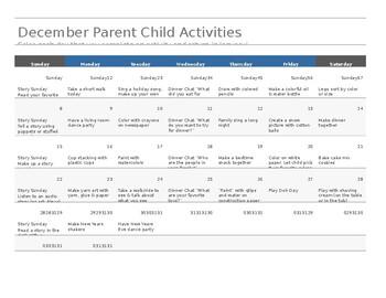 December Parent Child Activity Calendar