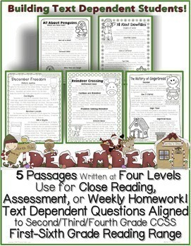 December Passages w/ CCSS Text Based Questions Close Readi