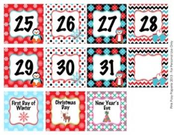 December Penguin Calendar Set - Numbers - Days of the Week