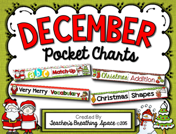 December Pocket Charts --- Four Math and Literacy Pocket Charts for December