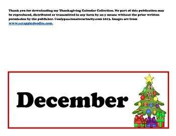 December Pocket Chart Calendar Cards