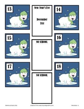 December Polar Calendar Pieces