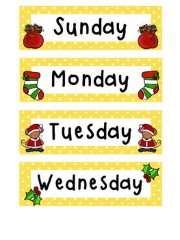 December Polka Dot Calendar Set
