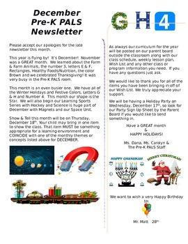 December Pre-K Newsletter