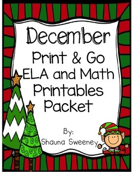 December Print & Go! ELA and Math Printables