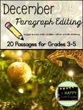 December Print & Go Paragraph Editing: 20 Passages for Grades 3-5