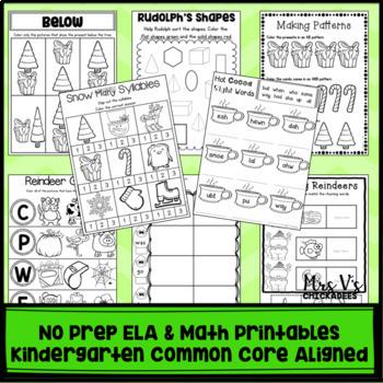 Kindergarten No Prep Phonics, Literacy & Math Work for December
