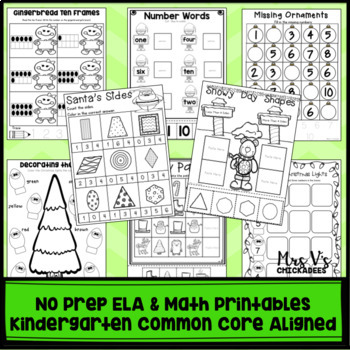 Kindergarten No Prep Phonics, Literacy & Math Work for December